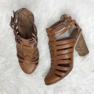 DV by Dolce Vita Brown Strappy Block Heel Sandals
